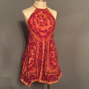 Anthropologie ecoté Orange Motif Halter Dress 4
